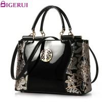 DIGERUI Handbag Female Women Patent Leather Handbags Good Quality Embroidery Vintage Shoulder Bags Female Messenger Bag A846